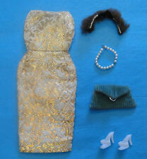Vintage Barbie 1960 Golden Girl 911/Evening Splendor 961+ Fur Hat, Purse, Pearls