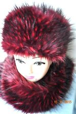 faux fur hat and scarf shawl cherry maroon wine colur premium