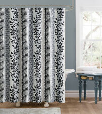 Amadora Gray Black White Leaves Floral Fabric Shower Curtain Victoria Classics