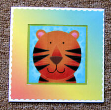 "Hand Crafted Tiger material Square Card - any occasion - size 5"" x 5"""