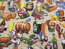 """English Pub, Beer Bottles,Pints """"Beer Is Best"""" Printed 100% Cotton Fabric."""