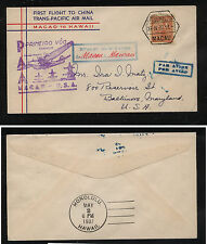 Macau  286     Macau to Honolulu     flight cachet cover 1937 MS1004