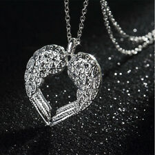 Women Silver Plated Angel Wing LOVE Heart Silver Pendant Necklace Gift New