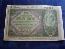20 Kronen 29. Klassenlotterie Achtellos 2. Klasse Donaustaat Österreich W/17/184