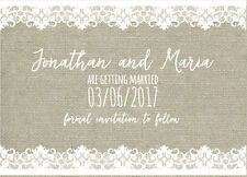 50 Hessian Burlap Lace Rustic Vintage Wedding Invitations Save the Date!