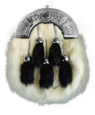 New Full Dress 5 Tassel Kilt Sporran with Tassels White Rabit Fur Celtic