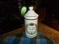 Vintage UNG. ALOES c PETROL DOCTORS MEDICAL APOTHECARY JAR Robins Ind. USA VG !