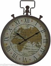 Large Metal Wall Clock Round Framed World Map Clocks Home Decor