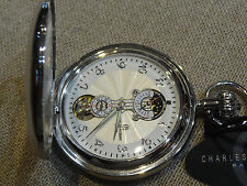 Charles Hubert Mechanical pocket watch Skeleton Vest Illuminated Hands Etch Case