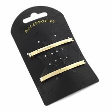 Pair of Single Bar Design Unsprung Hair Barrette Clips Slides 6cm - Accessories