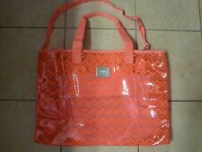VICTORIAS SECRET PINK CHEVRON AZTEC JELLY CLEAR LARGE DUFFLE BEACH TOTE BAG NWT