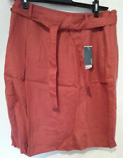 MEXX BURNT ORANGE LINEN SKIRT SIZE 12UK/38EU NWT £35 TIE BELT