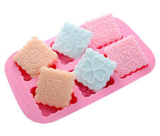 Square Floral Moon Cake Mold Soap Mold Flexible Silicone Mould For Candy  Resin