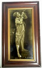 ANTIQUE FRAMED MAJOLICA TILE  DICKENSIAN CHARACTER  BY SHERWIN & COTTON C1895 #2
