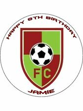 """Any Football / Sports Club Logo Personalised  7.5"""" Edible Cake Topper"""