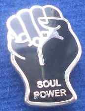 Northern Soul Puño Soul Power Insignia Pin Esmalte Negro y Plata