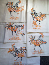 5 Roosters VTG.HAND EMBROIDERED KITCHEN HAND TEA TOWEL
