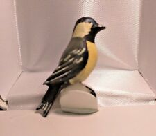 Vintage TAKAHASHI Style Hand Painted Wood 3cm Bird Brooch Pin WIRE : NUTHATCH