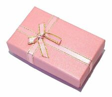 Pink Bowknot With Golden Lace Jewelry Ring/Necklace/Earrings Gift Box