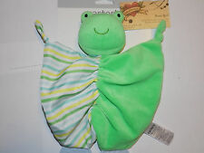 CARTER'S NEW SECURITY FROG W/ RATTLE & TEETHERS LIME GREEN FLATSIE VELOUR STRIPE