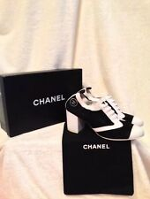 CHANEL Ladies Shoes Pumps 39 (8.5) - Black & White Canvas & Leather Sneaker Look