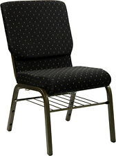 Flash Furniture HERCULES Series 18.5''W Black Dot Patterned Fabric Church...