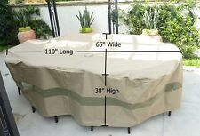 "Patio Garden Outdoor Yard Oval Table & Chairs Cover. 110""L Funiture Set Covers"