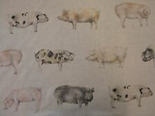 VOYAGE OILCLOTH TOTPAN OINK LINEN PIGS COTTON PVC TABLECLOTH BAG APRON FABRIC