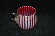 GREAT VICTORIAN NICKEL PLATE CRANBERRY OPALESCENT STRIPE PUNCH CUP 1890'S