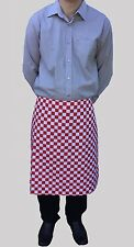 Brand New Mens Womens Half Apron Red White Check Bistro Catering Clothes Cafe