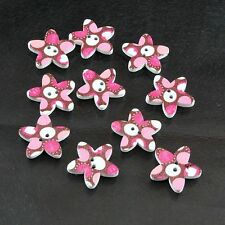 10 Star-shaped Love Heart Pink, White and Brown Two hole Sewing Wood Button Set