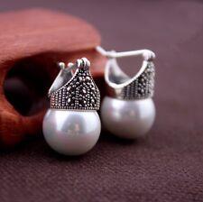 Plata esterlina 925 Blanco Madre De Perla Nácar corona pendientes hecho a mano