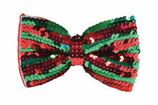 RED AND GREEN STRIPED CHRISTMAS ELF SEQUIN DICKIE BOW TIE FANCY DRESS COSTUME BN