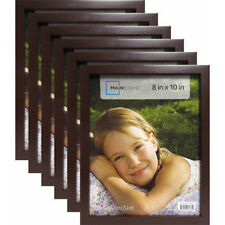 "Mainstays 8""x10"" Brown Linear Picture Frame 6-Set Lot Photo Home Wall Decor Wood"