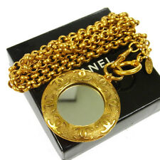 Authentic CHANEL Vintage CC Logos Gold Chain Medallion Mirror Necklace V03373