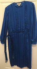 ARGENTI Blue Pleated Dress CAREER COCKTAIL PARTY WEDDING Size 14 w/ 2 Belts VTG