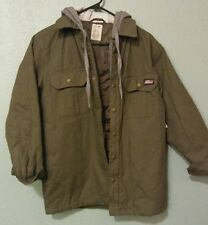 Dickies Men Small Canvas Jacket Overshirt Lined Fleece Hooded Relaxed Fit 3820