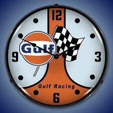 New 50's style Gulf Racing Gasoline checkered flag LIGHT UP advertising clock