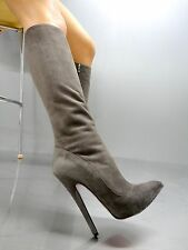 MORI ITALY EXTREME HEEL KNEE HIGH BOOTS STIEFEL STIVALI LEATHER GREY GRIGIO 44