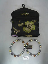 Set of 2 Honora Freshwater Pearl Multi-Color Bead Stretch Necklace with Pouch