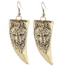 Retro Golden Dangle Wolf Head Pattern Design Bead Hook Earring Party Gift Women