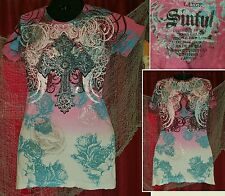 Sinful pink multi color shirt. GUC. Women's size large.