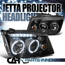 Fit 99-05 Jetta Bora Mk4 LED Halo Projector Headlights Lamp Black w/ Fog DRL
