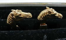 Estate Horse Head 18k Gold Cufflinks with Ruby Eyes - Horse Lover & Equestrian