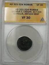 321-324 AD Roman Licinius II Antioch Mint Bronze Ancient AE Follis ANACS VF 30