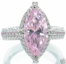 Epiphany Platinum Clad Diamonique Pink Marquise Solid 925 Sterling Ring Sz-7 '