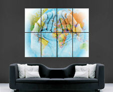 MAP OF THE WORLD MAP ON HANDS POSTER MAPS PRINT GIANT WALL ART  IMAGE HUGE