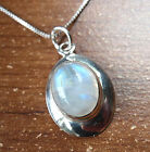 Blue Moonstone Pendant Ellipse on Silver Border 925 Sterling Silver New