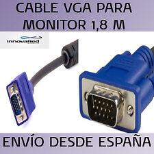 CABLE MONITOR VGA PARA ORDENADOR MACHO A MACHO 1,8M - 1.8 METROS CPU