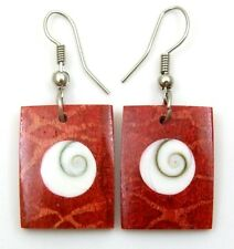 ELEGANT RED CORAL AND SHIVA EYE earrings ; DA097